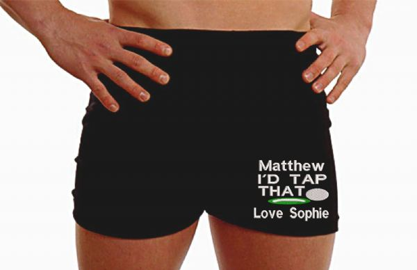 Personalised golfer boxer shorts I'd tape that customise husband gift on the Leg